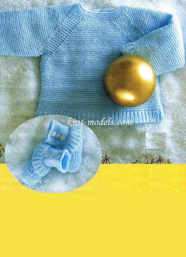 Пинетки для новорожденных спицами с