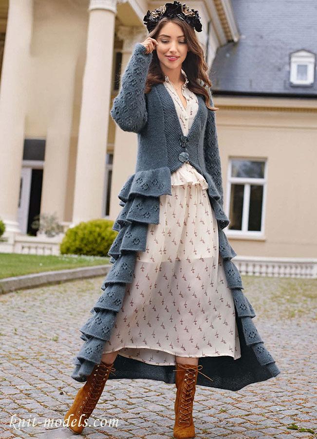 вязание платьев юбок пальто фото схемы под телевизор