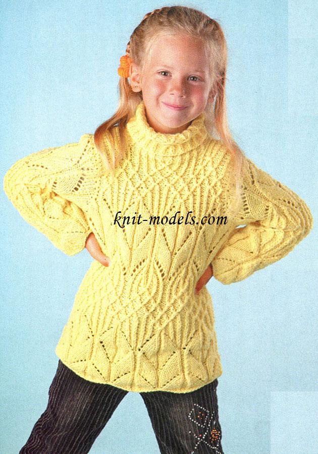 Узорчатый свитер для девочки